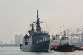 Bangladeshi Naval ship in the island