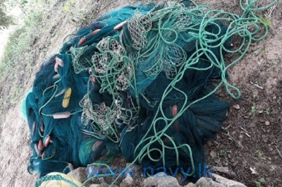 Navy recovers unauthorized fishing net