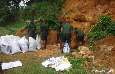 Army troops protect school from mudslides