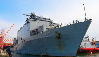 "US Naval ship USS ""Rushmore"" arrives at the port of Colombo"