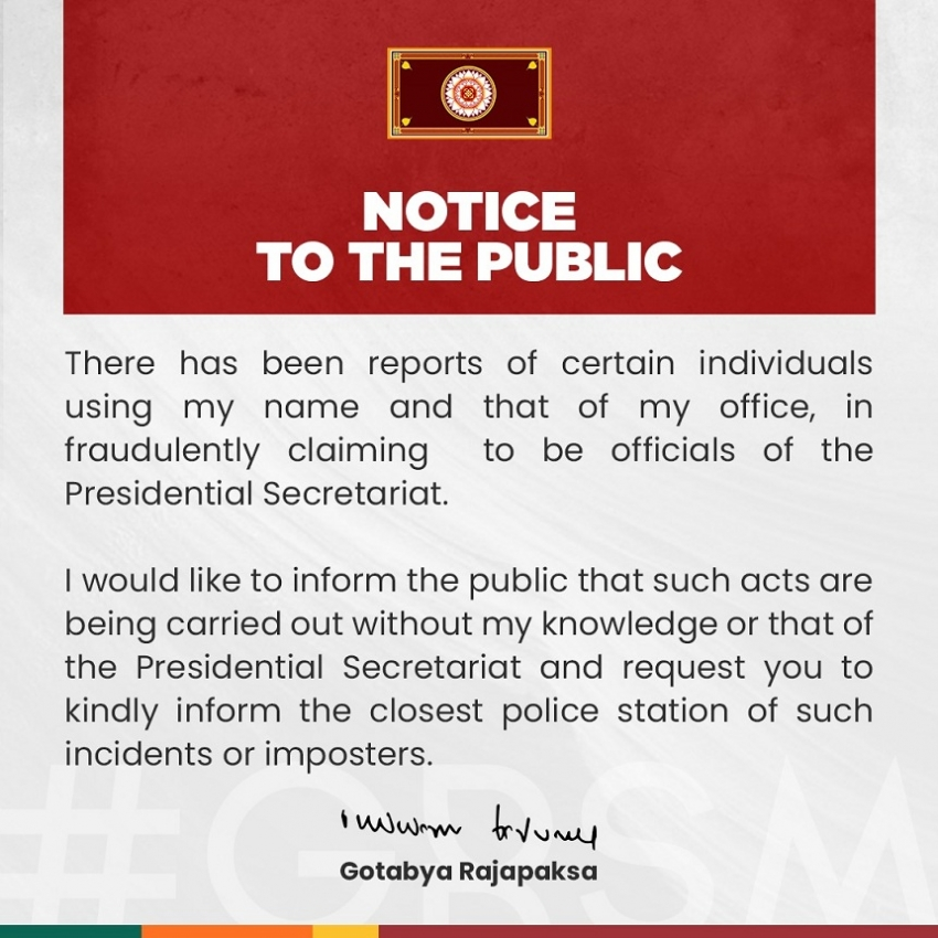 Notify police of fraud committed using President's name