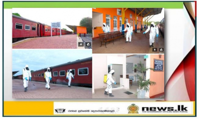 Navy disinfects Kankesanthurai railway station to help resume railway transportation