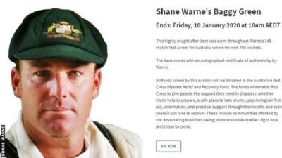 Australian cricket great sells 'baggy green' cap' for bushfire appeal