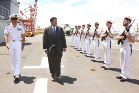 State Minister Wijewardene visits French ship
