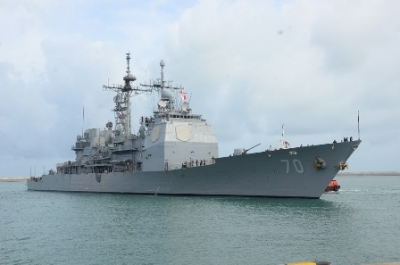 USS 'Lake Erie' arrives at the Port of Colombo