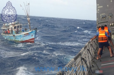 Two fishermen  drifting in the seas  were saved by the Sri Lanka Navy Ship 'Sayurala'