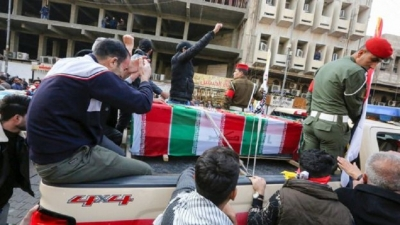 Mourners gather in Baghdad for funeral procession