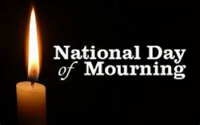 Tomorrow declared a national day of mourning April 22, 2019  	02:24 pm