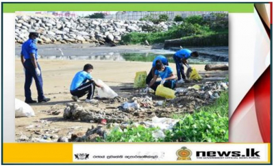 Navy ensures cleanliness of beach through beach cleaning drive at Galle Face