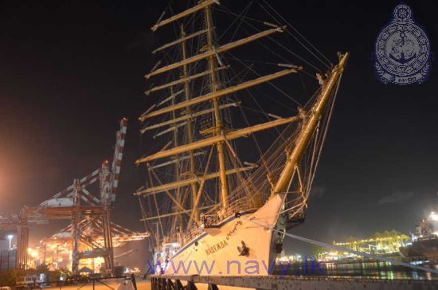 Russian ship 'Nadezhda' departs from Colombo harbour