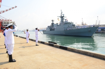Bangladeshi Naval ship in the island