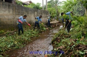 Naval troops take preventive action and clean waterways