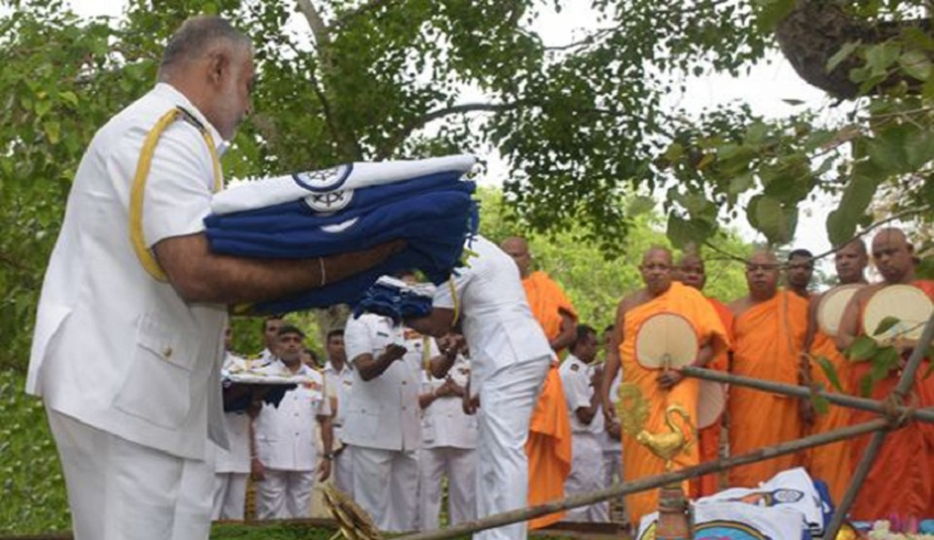 Naval Flag Blessing at Sacred Jaya Sri Maha Bodhi