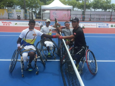 Army wheelchair tennis players win Taipe's Men's Doubles