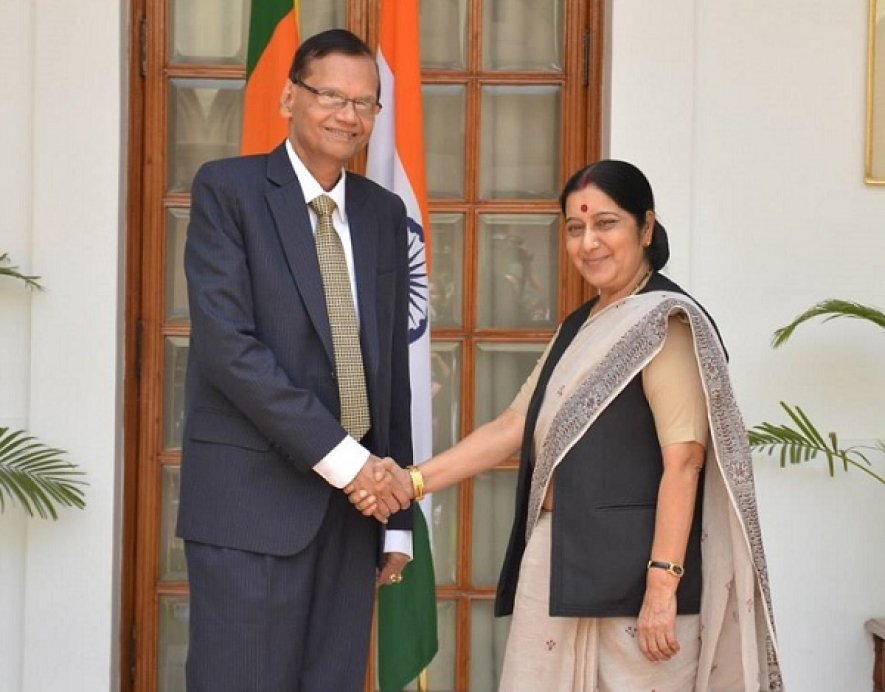 Minister of External Affairs Prof. G.L. Peiris holds bilateral talks with Indian External Affairs Minister Shrimathi Sushma Swaraj