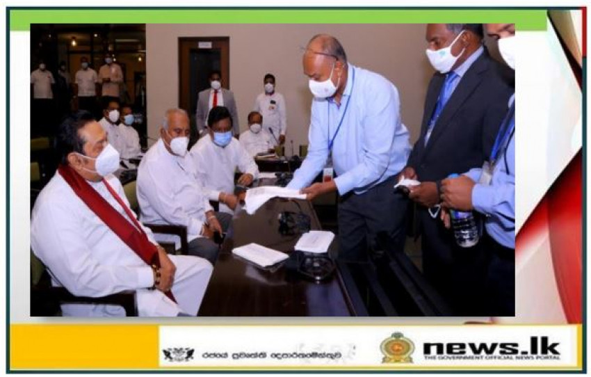 A new face mask that destroys viruses manufactured in Sri Lanka unveiled in Parliament under the patronage of the Hon. Prime Minister