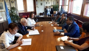 Minister of Telecommunication, Digital Infrastructure and Foreign Employment Harin Fernando holds discussions with DG/IOM and SG/ITU
