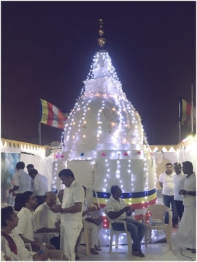 Sri Lankans in  Bahrain unveiled the Pinnacle of Buddhist Stupa