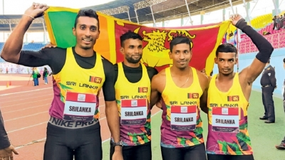 Lankan men shatter 4x100m relay record