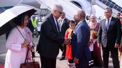 Warm welcome for PM  Wickremesinghe